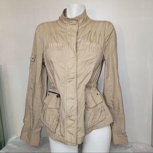 Express Casual Beige Tan Zip Up Utility Jacket